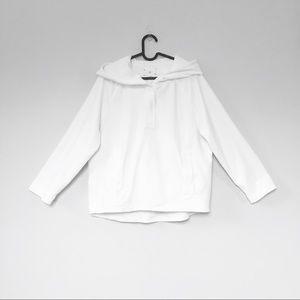 Lou & Grey boxy white soft terry cloth hoodie